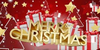 Жирные буквы веселого рождества золотые со звездами подарков на рождество и предпосылкой 3d-illustration ели иллюстрация штока