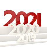 жирные буквы 3D-illustration 2021 Нового Года Стоковая Фотография RF