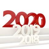 жирные буквы 3D-illustration 2020 Новых Годов Стоковые Изображения