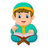 Жирный мальчик с зеленым caftan читает Коран al иллюстрация вектора