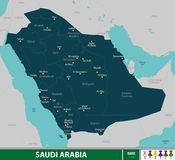 житель Саудовской Аравии карты Аравии Стоковая Фотография RF