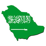 житель Саудовской Аравии карты флага Аравии Стоковые Изображения