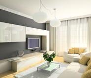 жить интерьера 3d самомоднейший представляет комнату Стоковое Изображение