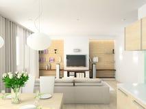 жить интерьера 3d самомоднейший представляет комнату Стоковое Фото