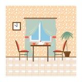 Жить и столовые с мебелью Плоская беда вектора стиля Стоковая Фотография RF