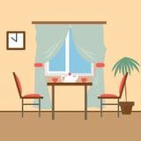Жить и столовые с мебелью Плоское illust вектора стиля Стоковые Фото
