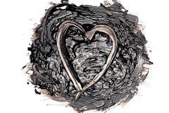 Жидкостная помарка битума с сердцем Стоковые Изображения RF