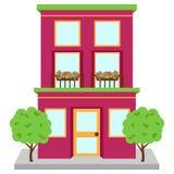 Жилой дом вектора на улице Стоковые Изображения RF