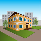 Жилой дом с деревьями и лужайкой иллюстрация штока