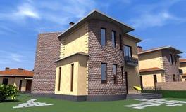 Жилой дом 3D Стоковое Изображение