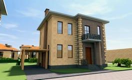 Жилой дом 3D Стоковая Фотография