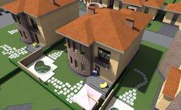 Жилой дом 3D Стоковые Изображения