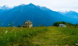Жилые дома в горах Швейцарии Кантон Tesshin Стоковое Изображение RF