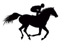 Жокей на бежать черная лошадь Стоковое Изображение