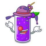 Жонглируя бутылка сока виноградины с мультфильмом ярлыка иллюстрация штока