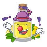 Жонглируя масло лимона политое в стекле мультфильма иллюстрация штока