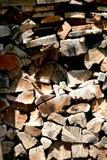 Журналы штабелированные в woodshed Стоковые Изображения