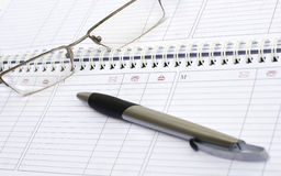 журнал ручки указывает еженедельно Стоковое Фото