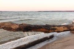Журнал с сосульками на замерзая реке, Сибире, России стоковые изображения