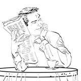 Журнальный стол завтрака газеты человека Стоковое фото RF