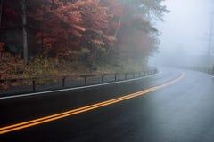 Заасфальтируйте влажную кривую дороги на лесе горы под туманом Стоковое Изображение