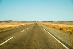 Заасфальтированная дорога через траву желтого цвета горизонта степи Стоковое Изображение RF