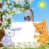 Забавные животные с плакатом Стоковые Фотографии RF