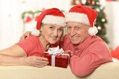 Забавные старые пары на рождестве Стоковое Фото