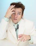 забавный устрашенный бизнесмен сумашедше tousled стоковые фотографии rf
