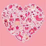 Забавляется значки для ребёнка в цветах Heart.Pink Стоковая Фотография RF