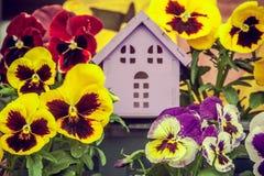 Забавляйтесь дом с солнцем на красивой предпосылке Стоковые Изображения