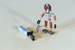 Забавляйтесь человек с собакой от старых компонентов радио Стоковые Фотографии RF