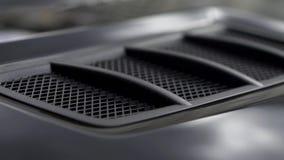 Забор воздуха в клобуке углерода спортивной машины шток Детали роскошного автомобиля внешние видеоматериал