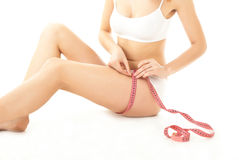 Забота и измерение тела женщины Стоковые Изображения
