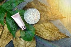 Забота кожи увлажнителя для кожи повреждения сухой, косметических контейнеров бутылки, пустого пакета ярлыка для клеймя модель-ма Стоковая Фотография RF