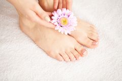 Забота руки и ногтя Красивые ноги и руки ` s женщин после маникюра и Pedicure на салоне красоты Маникюр курорта стоковые изображения rf