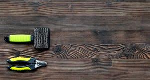 Забота любимчика установила на модель-макет взгляд сверху предпосылки деревянного стола Стоковая Фотография