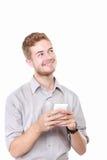 Заботливый портрет бизнесмена пока использующ портативный компьютер стоковые изображения