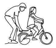 Заботя дочь папы уча для того чтобы ехать велосипед в первый раз Велосипед катания ребенк девушки порции человека отца непрерывно иллюстрация штока