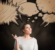 Заботливая женщина с различной думает облака Стоковые Изображения