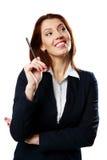 Заботливая ручка удерживания женщины коммерсантки стоковое изображение rf