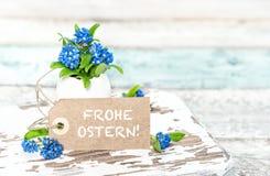Забудьте меня не немец бирки бумаги украшения пасхи цветков Стоковые Фото