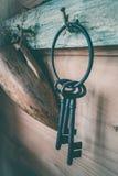 Забытые ключи на старом ногте закупорили на стене Стоковая Фотография RF