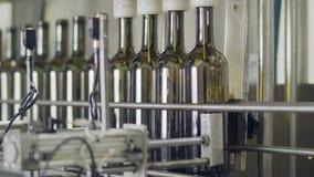 Завалка бутылок оливкового масла в разливая по бутылкам фабрике видеоматериал