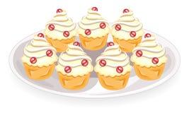 Завалка очень вкусных пирожных со сливками На плите сладкая булочка Торт как десерт r иллюстрация вектора