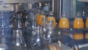 Завалка пластиковых бутылок с продуктами видеоматериал