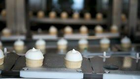 Завалка чашек вафли с мороженым Производственная линия мороженого Ванильное мороженое Производственная линия мороженого сток-видео