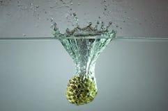 Заварной крем Яблоко брызгая через аквариум стоковое фото