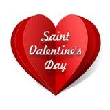 Заверните сложенное сердце в бумагу вектора с счастливым текстом дня валентинок Иллюстрация вектора