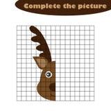 Завершите изображение, оленя в стиле мультфильма, рисуя тренировке навыков, воспитательной бумажной игре для развития  иллюстрация вектора